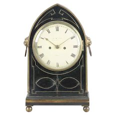 Antique Early 19th century English Regency Ebonized & Brass Inlaid Clock by James McCabe London 1810