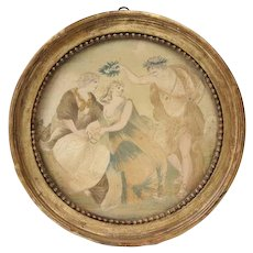 Antique 18th century Silk Needlework & Watercolor Depicting Apollo Gracing Two Lovers in Original Round Gilt Wood Frame