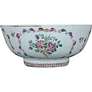 Large Antique 18th century Chinese Export Porcelain Punch Bowl in Famille Rose Palette Qianlong