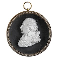 Antique Early 19th century French Empire Desprez Sulphide Glass Cameo of Louis XVIII in Gilt Bronze Frame