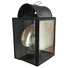Large 19th century American Paint Decorated Tole Lantern with Mercury Reflector Electrified