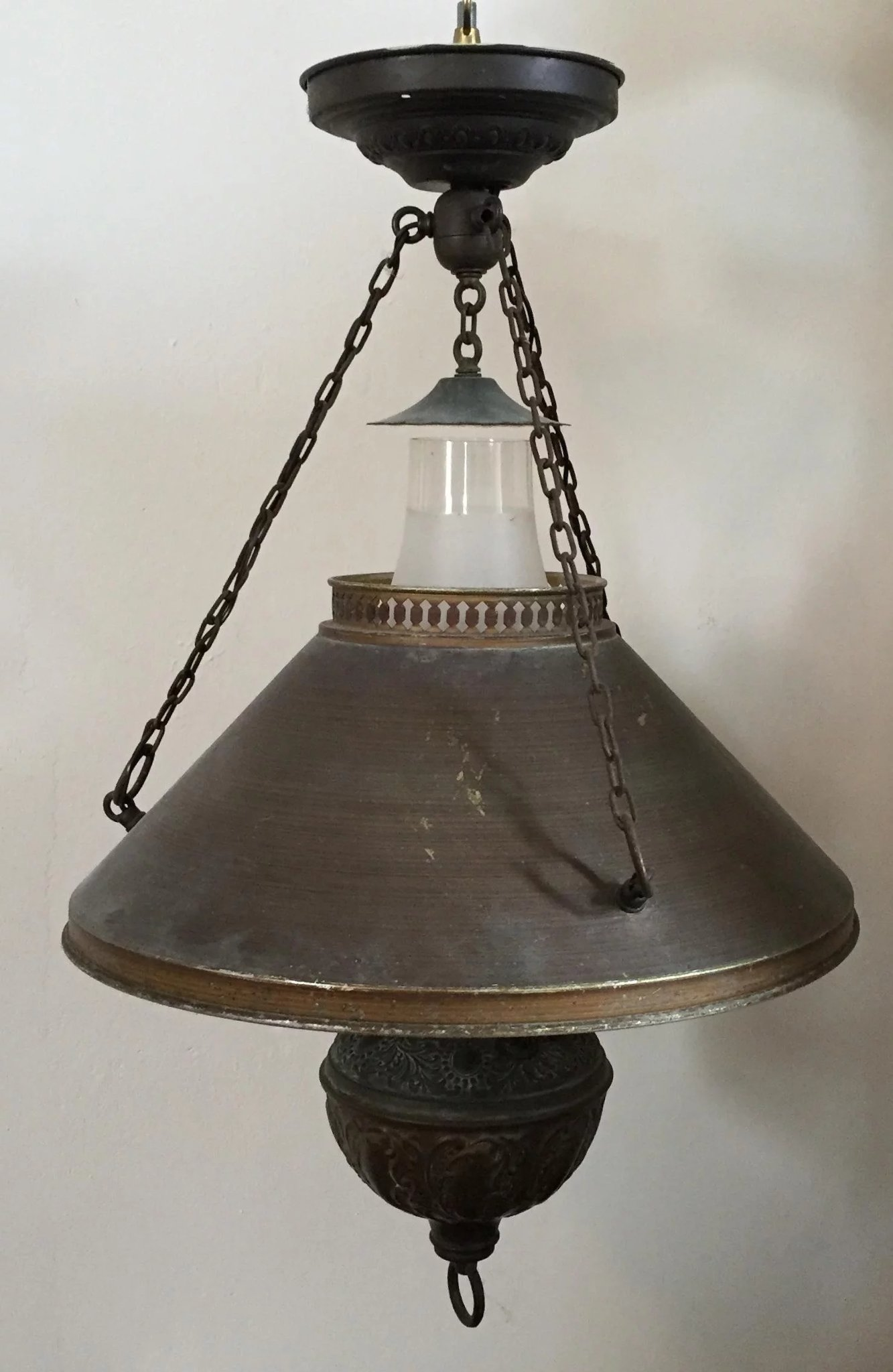Antique 19th Century Country Store Chandelier Hanging Oil
