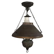 Antique 19th century Country Store Chandelier Hanging Oil Lamp Lantern Ceiling Light Fixture Western Motif Now Electrified Frosted Glass Shade