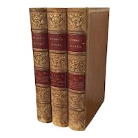 Fine Bindings - Lord Byron's Works 3 Volumes Each Book Bound in Full Tan Leather with Red Titles on Spine 19th century