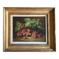 John Clinton Spencer (1861 - 1919) Oil Painting on Canvas Still Life of Raspberries 19th century