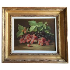 John Clinton Spencer (1861 - 1919) Oil Painting on Canvas Still Life of Raspberries 19th century