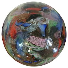 Very Large Antique Victorian Glass Paperweight with Scramble Design