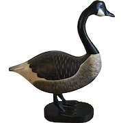 Large Life Size Carved Wood & Paint Decorated Folk Art Canada Goose Decoy Signed PC