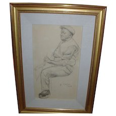 Everett Shinn Charcoal Pencil Drawing of Bus Driver Signed and Dated 1906