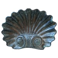 Antique 19th century American Cast Iron Shell Form Garden Ornament with Original Surface