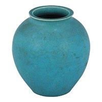 French Art Deco Turquoise Glaze Porcelain Vase 1930