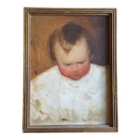 Early 20th century Julia Searing Leaycraft (1885 - 1960) Woodstock New York Colony Oil Painting Portrait of a Baby Boy Signed & Dated 1915