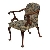 Antique 18th century English George II Walnut Needlework Upholstered Open Armchair