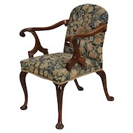 Antique 18th century English George II Walnut Needlework Upholstered Open Armchair