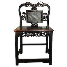 Antique 19th century Chinese Qing Carved Hardwood Chair with Inset Dreamstone or Marble Scholar Stone