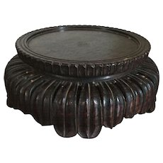 Antique 19th century Chinese Carved Wood Round Display Stand for a Kangxi Porcelain Vase