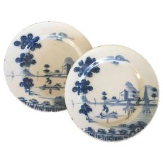 Pair Antique 18th century English Delft Tin Glaze Faience Blue & White Pottery Landscape Plates with Fishermen and Boats in the Chinese Taste