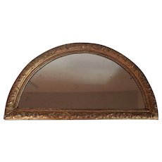 Antique 18th century French Louis XVI Crescent Shaped Demilune Carved & Gilt Wood Transom Mirror for Over a Door or Passage