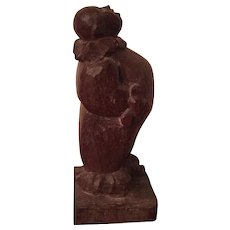 Antique French Art Deco Carved Wood Sculpture of a Clown or Jester