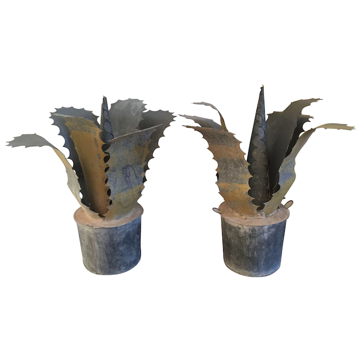 Pair Garden Ornaments French Zinc Sculptures Of Faux Agave Cactus Clic Tradition Ruby Lane