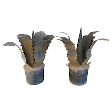 Pair Garden Ornaments French Zinc Sculptures of Faux Agave Cactus Plants in Pots in the Art Deco Taste