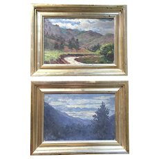 Pair Colorado Rocky Mountain Landscape Oil Paintings by Wells Moses Sawyer with Salmagundi Club Exhibition Label