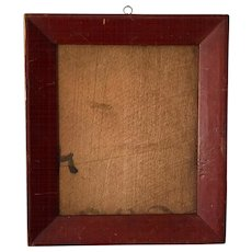 Antique 19th century American Late Federal Classical Empire Paint Decorated Picture Frame in Original Red Surface