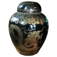 Very Large Antique 19th century Chinese Mirror Black Porcelain Vase Jar Urn & Cover with Gilt Dragon