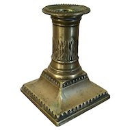 Antique 18th century American Federal Brass Candlestick with Removable Nozzle and Bobeche