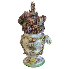 Monumental English Georgian 18th century Longton Hall Porcelain Floral Encrusted Vase Urn and Cover 1755 - 1760