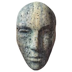 Mid Century Modern Carved Stone Sculpture of an Abstract Head