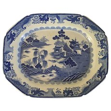 Large Antique Early 19th century English Georgian Staffordshire Mason's Ironstone Blue & White Turkey Platter in the Chinese Taste