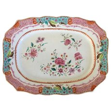 Antique 18th century Chinese Export Porcelain Famille Rose Platter for the French Market