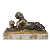 Antique 19th century French Empire Gilt Bronze Egyptian Revival Sphinx Form Inkwell on Marble Base