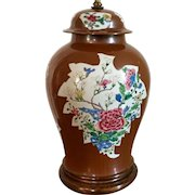 Large Antique 18th century Chinese Batavian Famille Rose Porcelain Vase & Cover Mounted as a Lamp