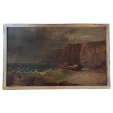 George Loring Brown Oil on Canvas Painting of a Shipwreck in Rough Sea 19th century