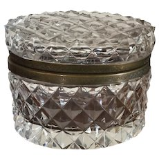 Antique French Cut Crystal Oval Hinged Glass Box