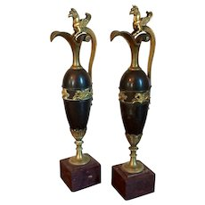 Pair French Empire Ormolu, Patinated Bronze and Rouge Griotte Marble Ewer Vases or Urns Attributed to Claude Galle 1810