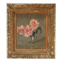Edward Barnard Lintott (1875 - 1951) Oil on Board Floral Still Life Painting of Pink Roses in a Glass Vase in Original Gilt Frame