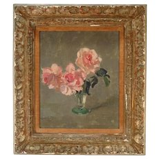 Edward Barnard Lintott (1875 - 1951) Oil on Board Floral Still Life Painting of Pink Roses in a Glass Vase in Original Gilt Frame