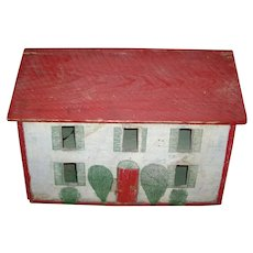Early 20th century Paint Decorated Folk Art Wooden Doll's House