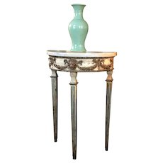 Antique 18th century Italian Neoclassical Demilune Console Table Paint Decorated with Original White Slab Marble Top