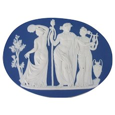 Large Antique 19th century Wedgwood Jasperware Plaque from Bacchanalian Triumph