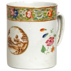 Large Antique 18th Century Chinese Export Porcelain Tankard Mug for the American Federal Market with Sepia Landscape and Famille Rose Band c. 1800