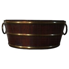 Small Scale Antique 19th century English Regency Brass Bound Oval Wine Tub or Planter with Ring Handles