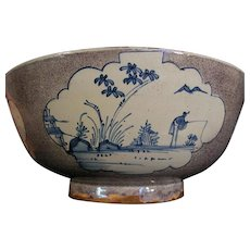 Large Antique 18th century English Liverpool Delft Tin Glaze Faience Punch Bowl Decorated with Blue Chinese Fishermen on Manganese Ground 1750