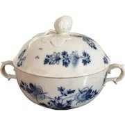 Antique 18th century German Vienna Porcelain Ecuelle Bowl & Cover in Blue and White Glaze with Strawberry Knop