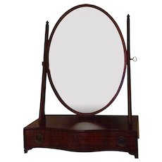 Antique Early 19th century George III Oval Mahogany Shaving or Dressing Table Mirror with Serpentine Front and Drawers for Storage