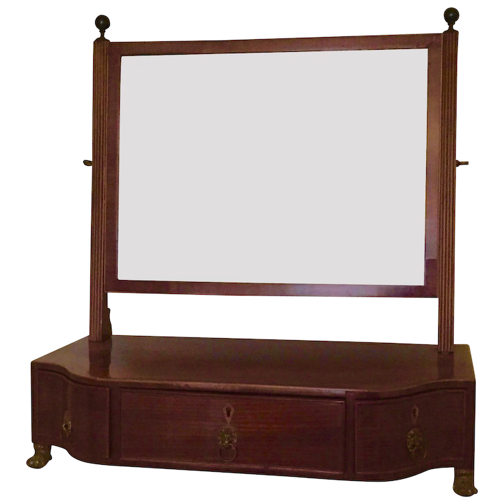 huge discount 1107e c9e90 Antique Early 19th century Regency Mahogany Shaving or Dressing Table  Mirror with Serpentine Front and Drawers for Storage