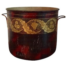 Antique French Louis XV Tole Peinte Cache Pot Planter Jardiniere or Wine Bottle Cooler Mid 18th Century Decorated with Gold Grape Vine Garland on Faux Tortoise Shell Ground